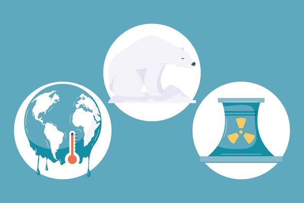 Três ícones de mudança climática