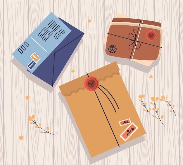 Três ícones de serviço postal