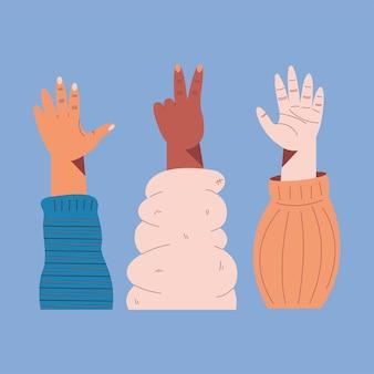 Três ícones inter-raciais de mãos esquerdas para cima