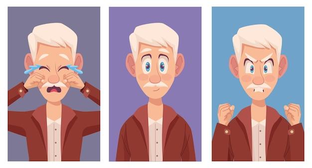 Três idosos com alzheimer