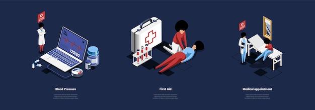 Três ilustrações diferentes de cuidados de saúde no estilo dos desenhos animados 3d. Vetor Premium
