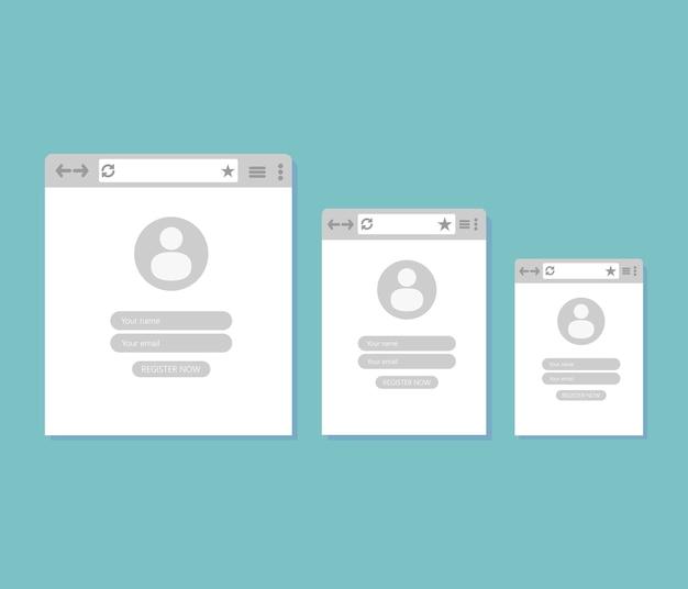 Três janelas da internet com registro de usuário
