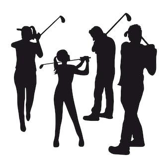 Três jogadores de golfe sobre ilustração vetorial de fundo branco