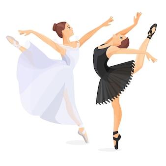 Três jovens bailarinos em pose de design plano em fundo branco. conjunto de esboços desenhados à mão. ilustração de bailarinas em vestidos de dança especiais