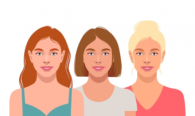 Três jovens mulheres atraentes