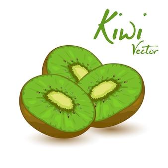 Três kiwis verdes doces. fonte de vitaminas e antioxidantes.
