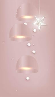 Três lâmpadas rosa de teto com elementos decorativos