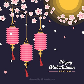 Três lanternas rosa, festival do meio do outono