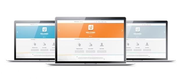 Três laptops exibindo sites de codificação de desenvolvimento web modernos
