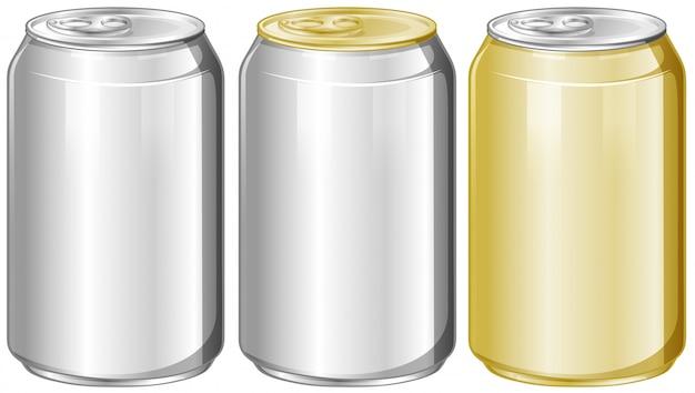 Três latas de alumínio sem etiqueta