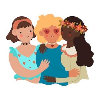 Três lindas garotas abraçando isolam-se em um fundo branco.