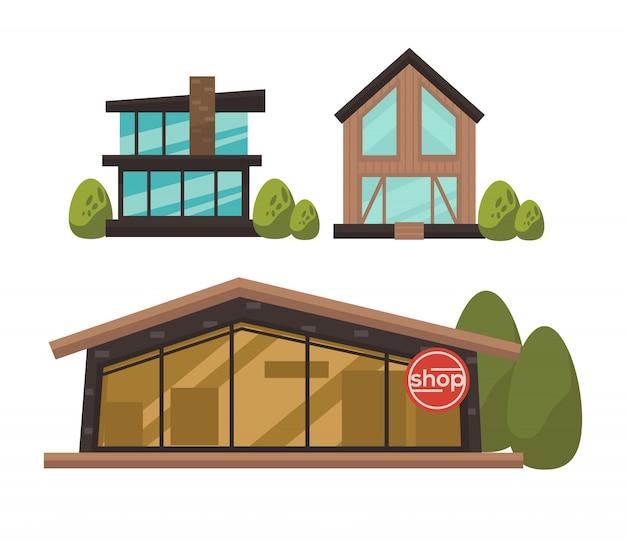 Três lojas elegantes com poster colorido janelas francesas