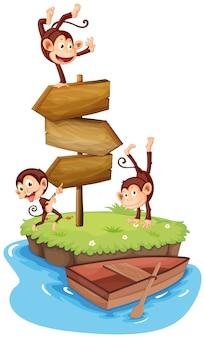 Três macacos e placas de madeira na ilha