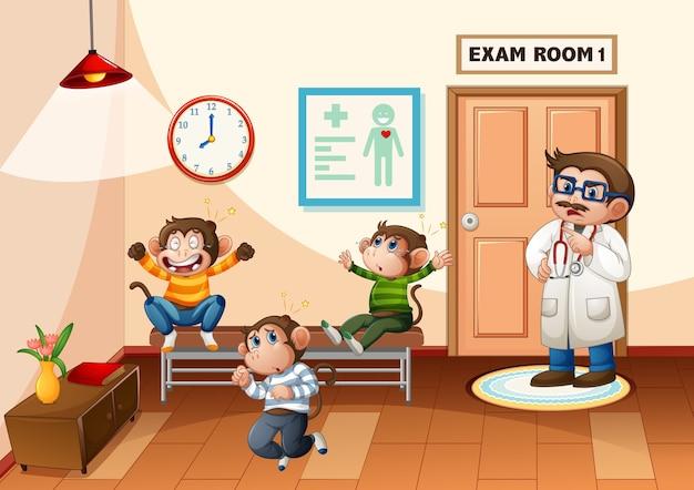 Três macaquinhos pulando no hospital com uma cena de médico