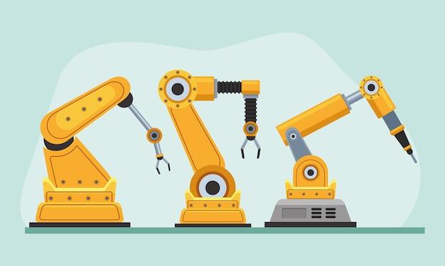 Três máquinas robóticas de produção