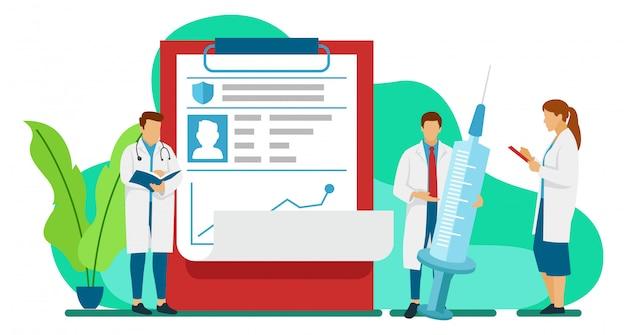 Três médicos estão analisando o histórico de um paciente que é positivo para o vírus corona para determinar o caminho a seguir em termos de tratamento