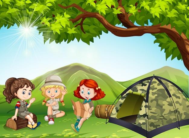 Três meninas, acampamento, saída, em, a, campo