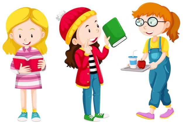 Três meninas, fazendo, diferente, coisas