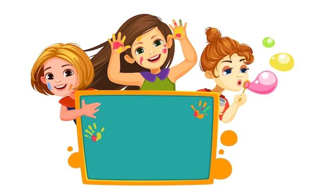 Três meninas felizes com uma bela ilustração em branco