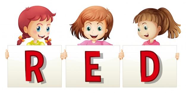Três meninas, segurando, sinal palavra vermelho