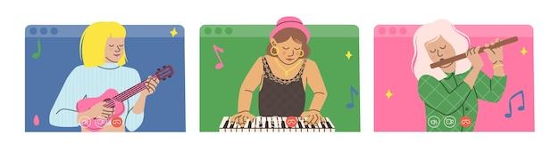 Três meninas tocam instrumentos musicais online.