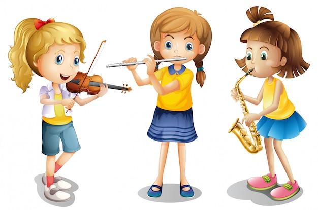 Três meninas, tocando, clássico, instrumentos