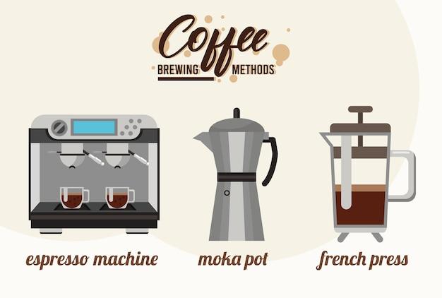 Três métodos de preparação de café agrupam ícones de conjunto