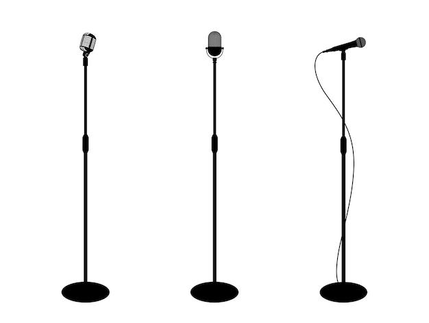 Três microfones no fundo branco silhueta do microfone ícone da música design plano do microfone