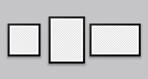 Três molduras de fotos estilo parede de galeria em tamanhos diferentes