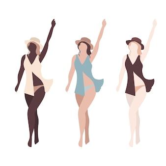 Três mulheres com cores de pele diferentes, meninas em chapéus, ilustração abstrata