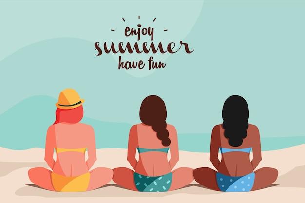 Três mulheres com peles diferentes curtindo ilustração plana de verão
