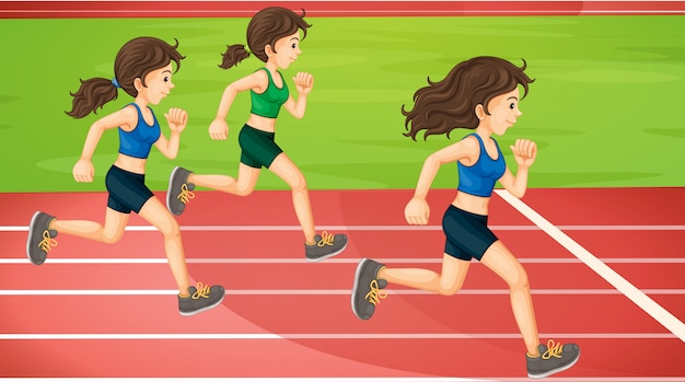 Três mulheres correndo na pista