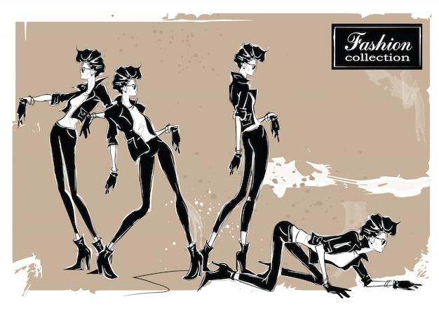 Três mulheres da moda em estilo de desenho.