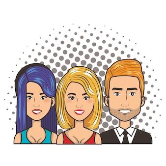 Três mulheres e homem retrato pop art comic estilo