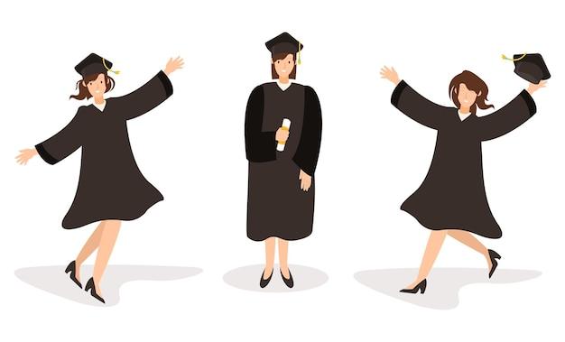 Três mulheres estão felizes por se formarem na universidade Vetor Premium