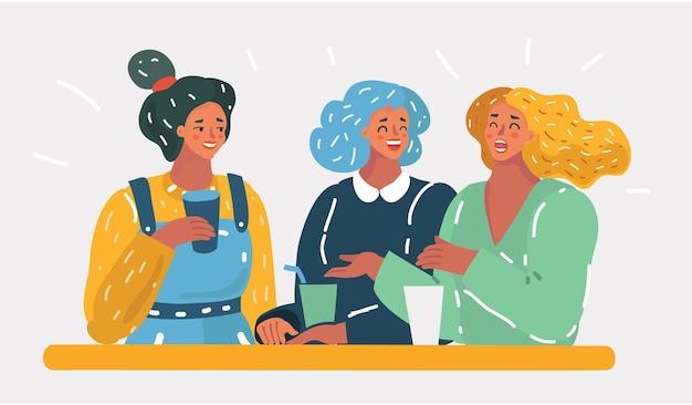 Três mulheres falando em um café