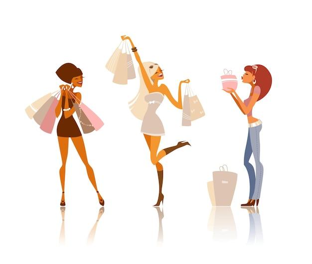 Três mulheres felizes segurando muitas sacolas de compras