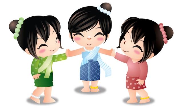 Três mulheres fofos tailandesas isoladas