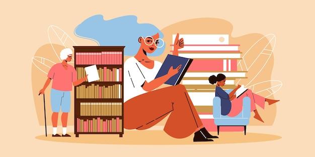 Três mulheres lendo e pegando um livro da estante