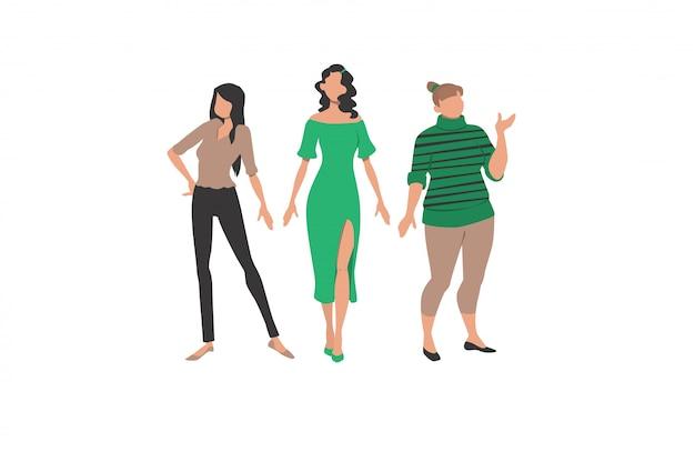 Três mulheres representando diferentes estilos e tipos de corpo