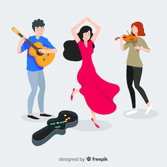 Três músicos tocando violão, violino e dançando na rua
