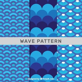 Três, onda, padrões, azul, tons