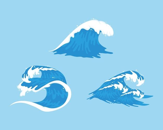 Três ondas do oceano