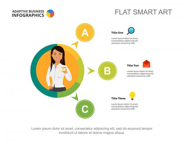 Três opções processam o molde da carta para a apresentação. dados da empresa. diagrama gráfico.