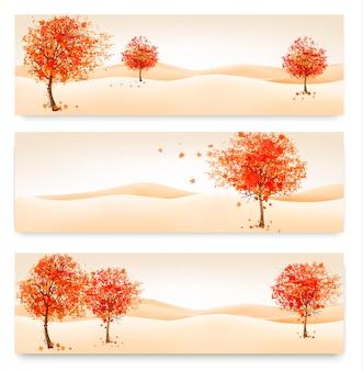 Três outono banners abstratos com árvores e folhas coloridas. ilustração.