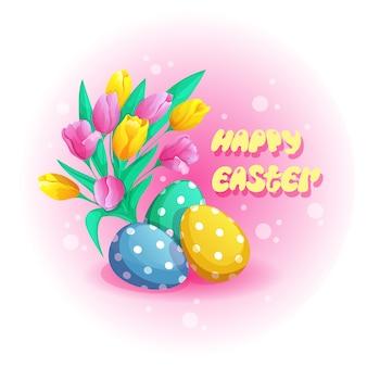 Três ovos da páscoa pintados e um ramalhete das tulipas.