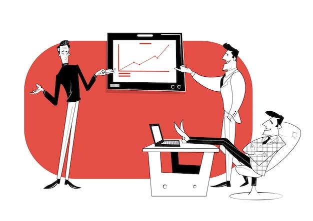 Três parceiros de negócios estão discutindo o andamento do trabalho. contrato comercial, financiamento de ideias.