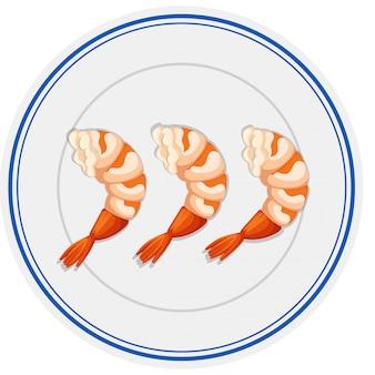 Três pedaços de camarão no prato redondo
