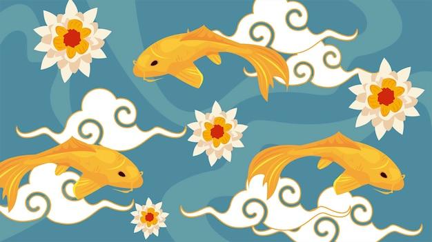 Três peixes koi