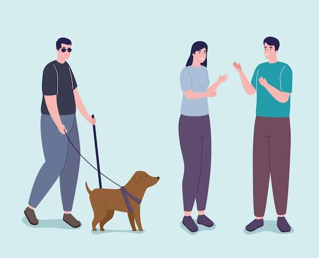Três personagens de deficientes físicos